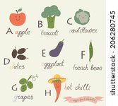 veggie fruit alphabet. apple ... | Shutterstock .eps vector #206280745
