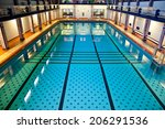 Historical Large Swimming Pool Hall Suitable for Competition Events - stock photo