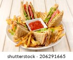 Club Sandwiches And French...