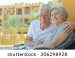 nice old couple resting at... | Shutterstock . vector #206298928