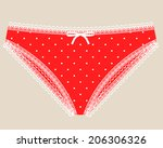 sexual woman red lace lingerie. | Shutterstock . vector #206306326