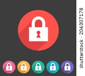 flat style lock icon for your...