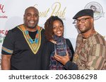 """Small photo of Brandon """"Brik"""" Miree, Shannan """"MsDramaganza"""" Tubbs, Zarian Hadley attend The Leimert Park Cultural Film Festival at The Alley, Los Angeles, CA on October 23, 2021"""