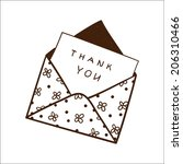 envelope with thanksgiving text.... | Shutterstock . vector #206310466