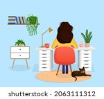 woman freelancer  manager sits...   Shutterstock .eps vector #2063111312
