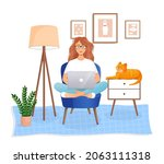 woman is sitting on a chair at...   Shutterstock .eps vector #2063111318