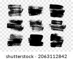 black brush stroke. set of nine ... | Shutterstock .eps vector #2063112842