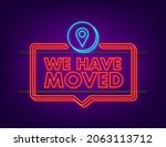 we re moving neon icon badge.... | Shutterstock .eps vector #2063113712