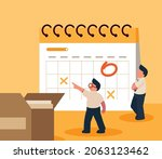 people filling out the schedule ...   Shutterstock .eps vector #2063123462