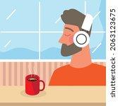 man using earphones with coffee ...   Shutterstock .eps vector #2063123675