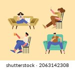 four persons relaxing...   Shutterstock .eps vector #2063142308