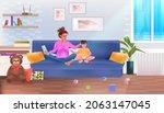 busy mother freelancer working...   Shutterstock .eps vector #2063147045