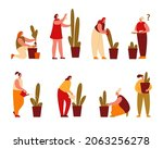 woman grows and cares for... | Shutterstock .eps vector #2063256278