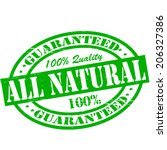 stamp with text all natural... | Shutterstock .eps vector #206327386