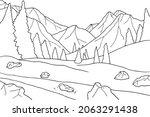 coloring book winter landscape. ... | Shutterstock .eps vector #2063291438