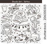 traditional tattoo doodles set | Shutterstock .eps vector #206330305