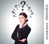 businesswoman thinking about a... | Shutterstock . vector #206342812