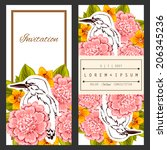set of invitations with floral... | Shutterstock .eps vector #206345236