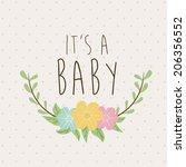 baby shower design over beige... | Shutterstock .eps vector #206356552