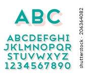 handmade sans serif font. bold... | Shutterstock .eps vector #206364082