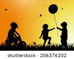 children silhouettes | Shutterstock .eps vector #206376202