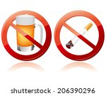 no smoking and no alcohol sign... | Shutterstock .eps vector #206390296