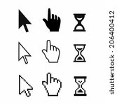 pixel cursors icons  mouse hand ... | Shutterstock .eps vector #206400412