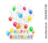 the words happy birthday with... | Shutterstock .eps vector #206406748