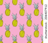 seamless summer pineapple fruit ... | Shutterstock .eps vector #206407912
