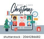 online christmas celebration... | Shutterstock .eps vector #2064286682