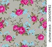beautiful seamless floral... | Shutterstock .eps vector #206430982
