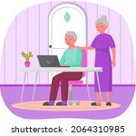 old people play video game.... | Shutterstock .eps vector #2064310985