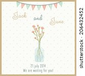 wedding card with a bottle with ... | Shutterstock .eps vector #206432452