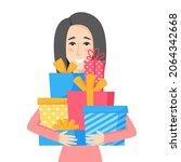 smiling woman holding gift... | Shutterstock .eps vector #2064342668