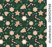gingerbread seamless pattern.... | Shutterstock .eps vector #2064342968
