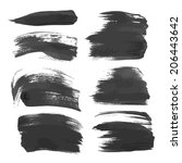 realistic black strokes painted ... | Shutterstock .eps vector #206443642