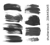 realistic black strokes painted ... | Shutterstock .eps vector #206443645