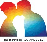 colored silhouette of man and... | Shutterstock .eps vector #2064438212
