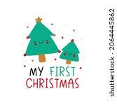 cute cartoon christmas tree mom ... | Shutterstock .eps vector #2064445862