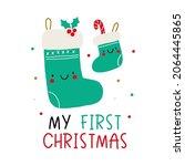 cute cartoon christmas socks... | Shutterstock .eps vector #2064445865