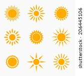 Sun Icons Or Symbols Collectio...