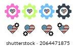 love heart usa vector icon in...