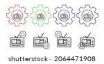 tv usa flag vector icon in gear ...