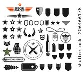 military style set symbolics... | Shutterstock .eps vector #206466178