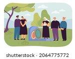 cartoon family in mourning... | Shutterstock .eps vector #2064775772