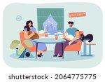 happy couple sitting in cat... | Shutterstock .eps vector #2064775775