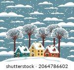 cartoon winter landscape with... | Shutterstock .eps vector #2064786602