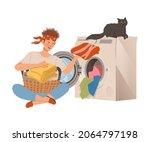 man loading laundry into... | Shutterstock .eps vector #2064797198