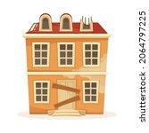 facade of old residential... | Shutterstock .eps vector #2064797225