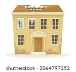 abandoned two storey house with ... | Shutterstock .eps vector #2064797252